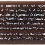 Plaque de la rue des Martyrs de Vingré, à Saint-Etienne