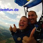 Tandemsprung Fallschirmsprung Rothenburg Mittelfranken nähe Ansbach und Nürnberg
