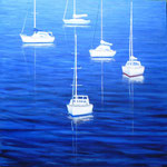 Boats Floating Blue