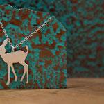 Sterling silver handmade deer pendant