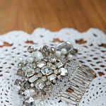 Handmade recycled vintage brooch bridal hair comb