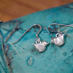 Handmade sterling silver bluebird earrings