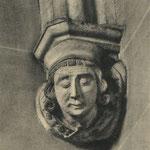 ¿Año? Ménsula representando un judío cambista, perteneciente a la desaparecida Capilla de Santiago (s. XIV), en los bajos del Palacio Episcopal