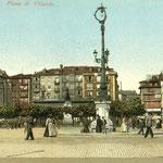 1906 Plaza Velarde desde el este. A la derecha, La Ribera; a la izquierda, Somorrostro y la Catedral