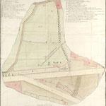 """1804 """"Plano topografo lebantado con arreglo à el estado que en el dia tienen las Huertas del Cubo y la de la Bobeda..."""""""