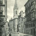1900-1906 Calle San José desde el sur. Toda la acera este (iglesia de los Jesuitas incluida) se salvó del incendio. A la izquierda, entrada a la Plaza del Príncipe