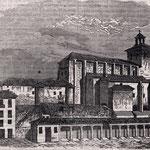 1835 Vista general del Castillo de San Felipe (izquierda) y la Catedral (derecha) desde el norte