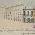 1840 Plaza Vieja desde la Calle de la Compañía. A la derecha, Ayuntamiento antiguo antes de la ampliación con un segundo piso y torre del reloj ese mismo año (proyecto de Zabaleta)
