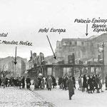 1941 Vista general del entorno de la Plaza Bolívar, tras el incendio, desde el este