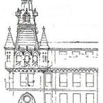 c. 1900 Proyecto de Joaquín Rucoba para la torre del nuevo Palacio Episcopal neogótico. El proyecto se llevaría a cabo, siendo derribado parcialmente en 1936 y desapareciendo definitivamente en 1941