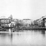 """1867 Vista general del centro de Santander desde el este. En primer plano, """"La Dársena"""" (actuales Jardines de Pereda); al fondo, Plaza Velarde y, a su derecha, La Ribera"""