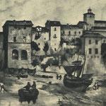 """1850 Catedral y casas de Ruamayor vistas desde el sur. El playazo en primer plano, llamado por entonces """"El Dueso"""", es la zona de la actual Calle Cádiz"""