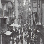 ¿Año? Calle San Francisco desde el oeste. La calle que cruza es Lealtad. Al fondo, Plaza Vieja
