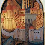1557 Vista de Santander en un talla que representa el milagro de la llegada de las cabezas de los Santos Mártires a la ciudad (reproducción)