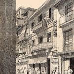 """1891 Comienzo de la Calle de La Compañía desde su confluencia con Arcillero y Tableros. Al frente, """"Casa del Marqués de la Conquista"""""""