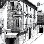 1891 Palacio de Villatorre, en la esquina de la Plaza Vieja (en primer plano) y Santa Clara (a la derecha). Dibujo de Isidro Gil (¿a partir de la anterior fotografía?)