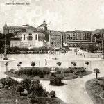 ¿Año? Avenida de Alfonso XIII desde los Jardines de Pereda. De izquierda a derecha: Hotel Europa, Salón Pradera (detrás, la Catedral y, a su izquierda, el Palacio Episcopal) y Plaza Velarde con el Mercado de la Ribera