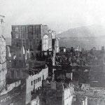 1941 Ruinas de la Puebla Vieja desde el norte. A la izquierda, Catedral y Palacio Episcopal, al comienzo de Ruamayor