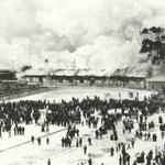 1902 Primera Estación de la Costa en llamas. Sería sustituida por una nueva en Calderón de la Barca