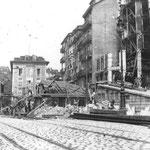 1909 Construcción del último puente en la confluencia de La Ribera, Atarazanas y Colón. Apréciese que han sido derribadas las casas pegadas al puente