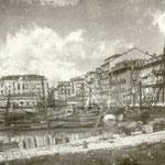"""1884 Vista general del centro de Santander desde el este. En primar plano, """"La Dársena"""" (actuales Jardines de Pereda); detrás, de izquierda a derecha: Castillo de San Felipe, Catedral, Plaza Velarde y La Ribera"""