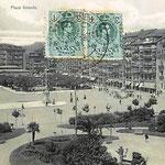 1918 Plaza Velarde desde el este. Al fondo a la izquierda, Mercado de La Ribera; a la derecha, Aduana