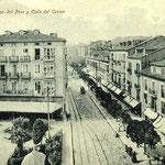 1906 Plaza de Pi y Margall desde el este. El edificio de la izquierda es el que se derribó en los años 30