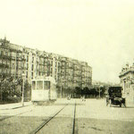 1914 Calderón de la Barca desde el oeste. A la izquierda, Monumento del Machichaco; a la derecha, Estación de la Costa