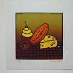 """""""Antojos II, 2010"""" Grabado en Relieve a 8 tintas. 15 x 15 cm. (Albur Mexicano)"""