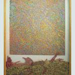 """""""Orden/Caos, 2009"""". Lino grabado a 8 tintas. Placa totalmente perdida"""