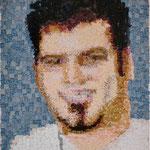 """""""Eliazar, reliquia 1, 2012"""" de la serie Rompecabezas. Retrato conformado por trocitos de objetos pertenecientes al retratado. (Relación Materia y Forma)"""