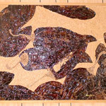 """""""Retrato indexal de Chiles Guajillos, 2007"""" Semillas, piel y tallos de chiles guajillos pegados sobre madera.  (Relación Materia y Forma)"""