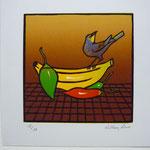 """""""Antojos I, 2010"""" Grabado en Relieve a 8 tintas. 15 x 15 cm. (Albur Mexicano)"""