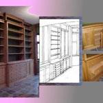 Bibliothèque intégrée en chêne