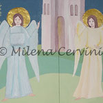 ANGELI - n. 2 angeli in rilievo su legno - colore a olio - 65x50 cm