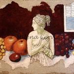 NATURA MORTA  - affresco a secco su tela con malta e terre naturali colorate - 40x80 cm
