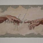 CREAZIONE, Omaggio a Michelangelo - affresco a secco su tela con malta e terre naturali colorate - 30x60 cm
