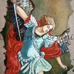 SAN MICHELE, Omaggio a Guido Reni - affresco a secco su tela con malta e terre naturali colorate - 50x40 cm