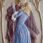 OM. A ROMEO E GIULIETTA - gesso su legno - colore a olio 45x25 cm