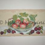 PESCHE  - affresco a secco su tela con malta e terre naturali colorate - 25X50 cm