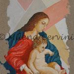 MADONNA CON BAMBINO - affresco a secco su tela con malta e terre naturali colorate - 40x30 cm