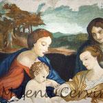 SPOSALIZIO DI SANTA CATERINA, Omaggio al Correggio- affresco a secco su tela con  malta e terre naturali colorate - 50x70 cm