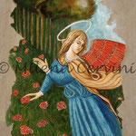 ANGELO DELLE ROSE - affresco a secco su tela con malta e terre naturali colorate - 70x50 cm