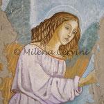 ANGELO, ANNUNCIAZIONE - affresco a secco su tela  con malta e terre naturali colorate - 55x45 cm