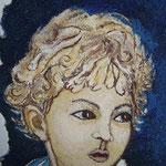 ALBERTO - affresco a secco su tela con malta e terre naturali colorate - 25x18 cm