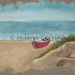 MARE - affresco a secco su legno con malta e terre naturali colorate - 35X50 cm