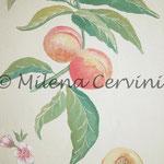 ERBARI  PESCHE - affresco a secco su tela con malta e terre naturali colorate - 25x30 cm