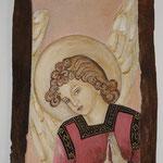 ANGELO - affresco a secco su tavola di noce e terre naturali colorate - 36x26 cm
