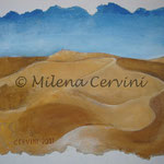 DESERTO - affresco a secco su legno con malta e terre naturali colorate - 30X40 cm