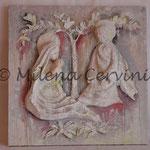 SACRA FAMIGLIA - cartapesta su legno - colore tempera - 45x45 cm